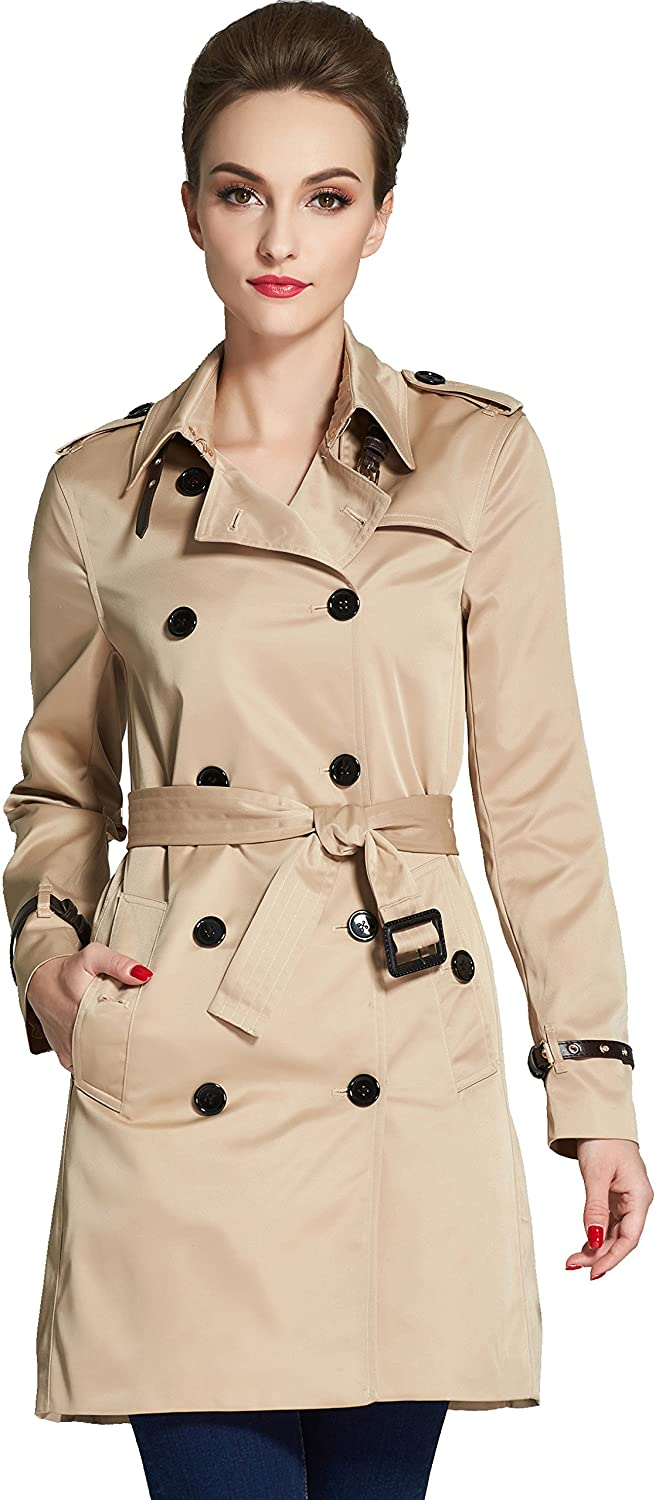 Camii Mia Women's British Belted Windbreaker Double Breasted Trench Coat