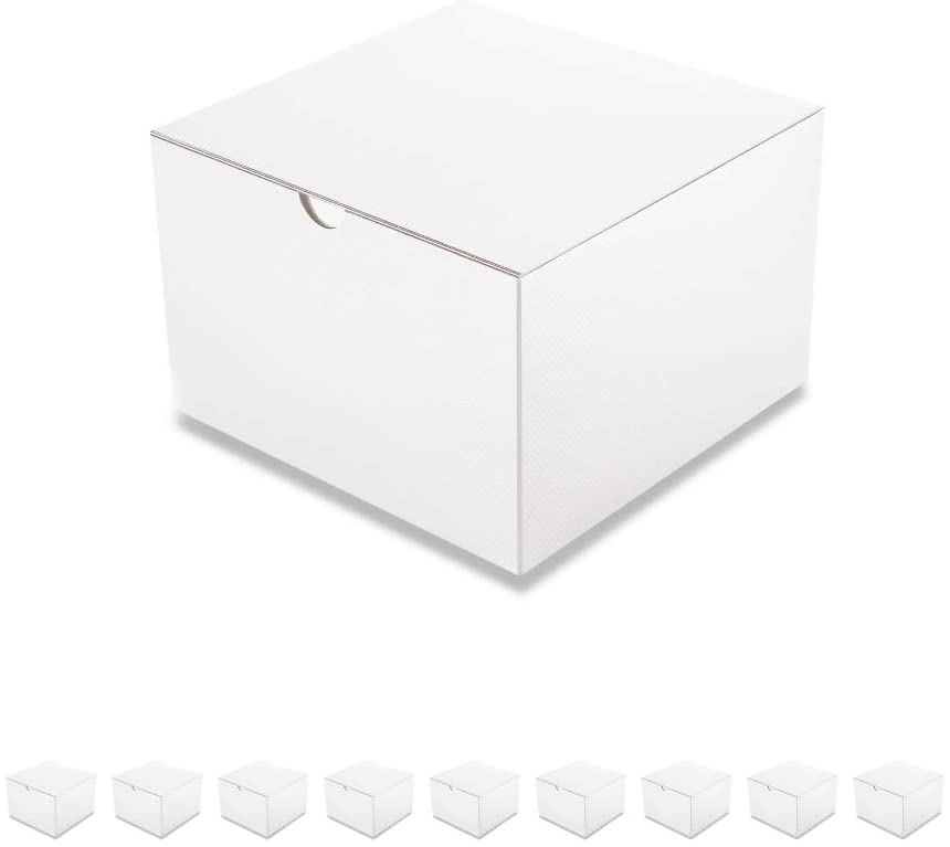 PACKQUEEN White 10 Gift Boxes 6x6x4 Inches, Gift Boxes with Lids, Paper Gift Boxes for Light Weight Gifts, Cupcake Boxes Package, Textured Glossy Finish
