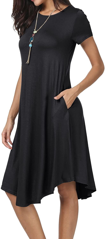 levaca Womens Plain Short Sleeve Loose Swing Casual Midi Dress with Pockects
