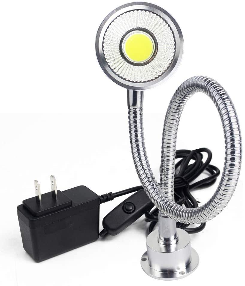 Cob Flexible Gooseneck Lamp 5 Watt 500 Lumens 120 Volt Midget Screw Fixing Work Light for Sewing Machine Tools Lathe Workbench