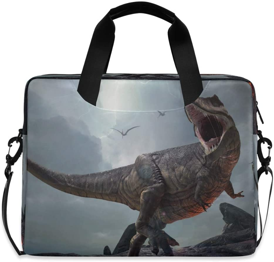 YKMUSTwin Dinosaur Tropical Animal 13-15.6 Inch Laptop Shoulder Messenger Bag Laptop Case Sleeve with Strap Computer Briefcase for Women Men Boy Girls