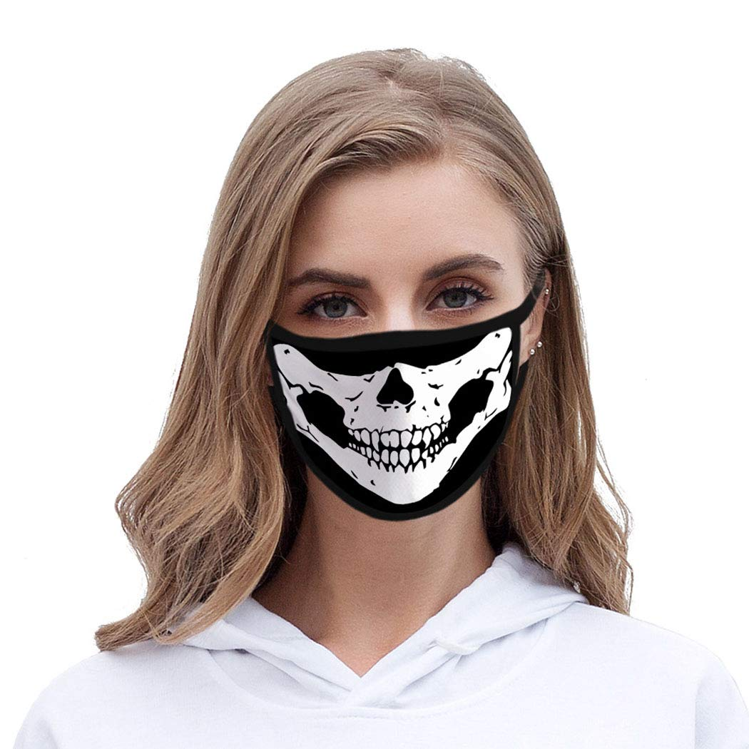 Funyrich Halloween Face Mask Black 3D Skull Mouth Printed Fabric Face Covering Decoration Reusable Masquerade Ball Costume Face Masks for Women and Men