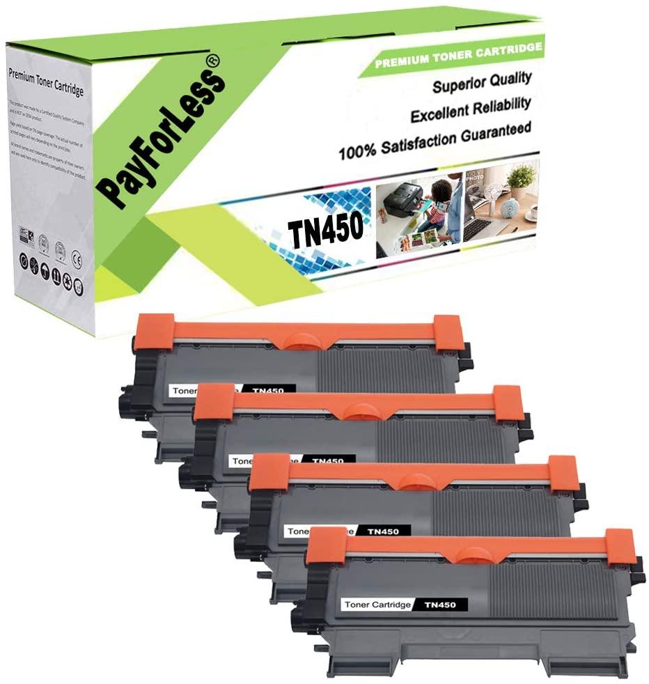 PayForLess 4PK TN450 TN-450 TN420 Toner for Brother HL-2270DW HL-2280DW HL-2240 MFC-7360N MFC-7860DW MFC-7460DN DCP-7065DN for Brother TN450 TN 450 TN-420 TN 420