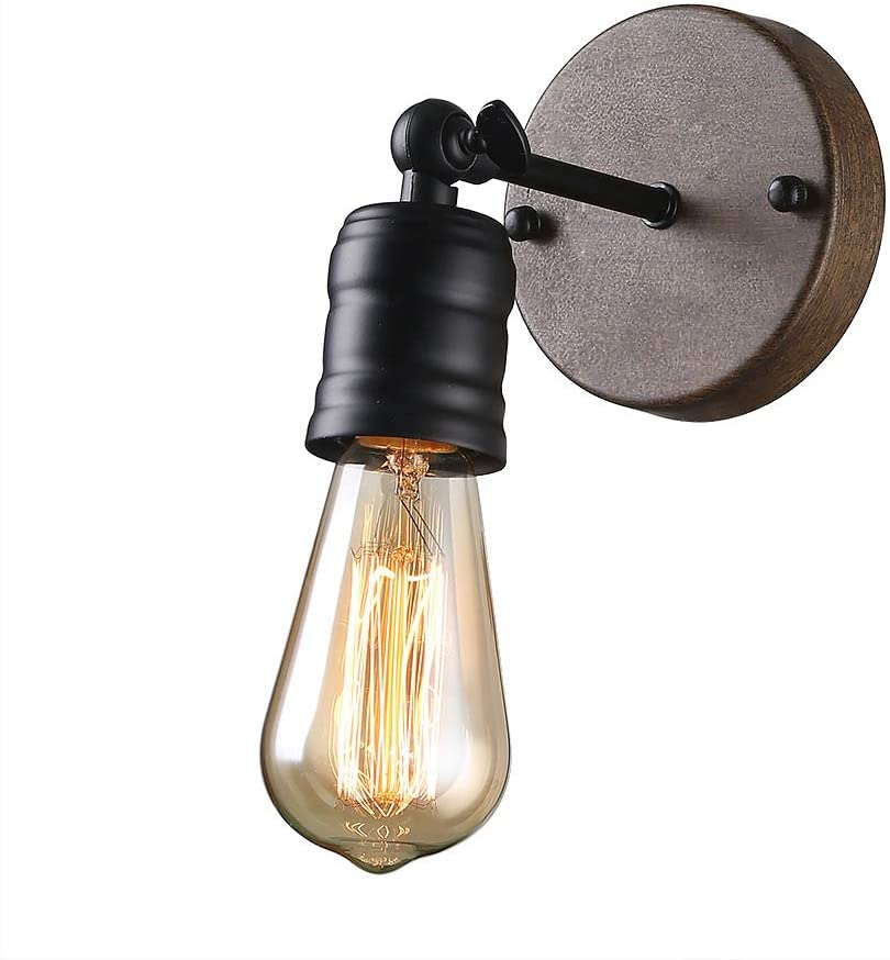 Giluta Industrial Wall Sconce Vintage Bathroom Wall Lighting Retro Edison Sconce Lighting Fixtures 1-Light Simple Style Angle Adjustable Black (W0052)