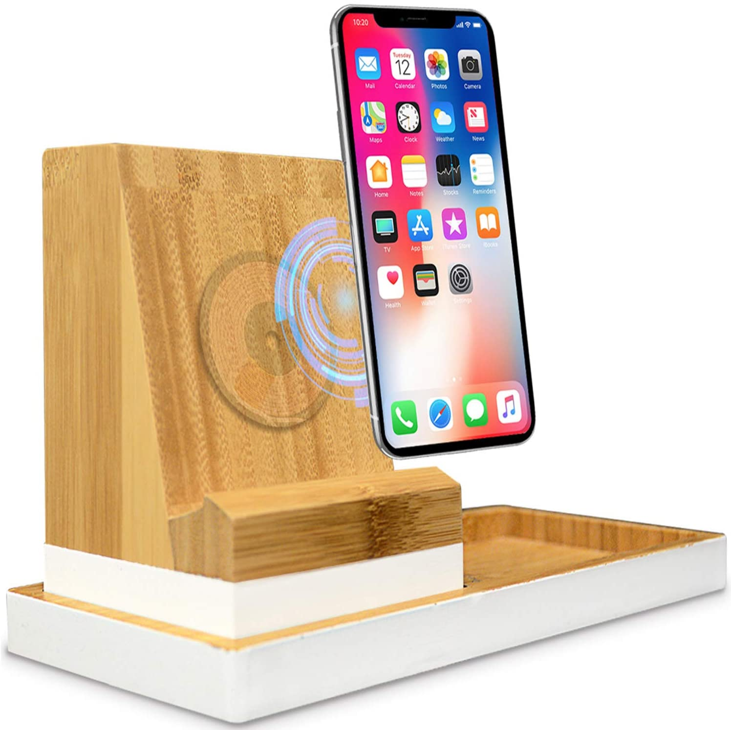 Elements Of Order QI Wireless Bamboo Wood Charging Station with 10W Fast Phone Charging Station and Tablet Charging Port
