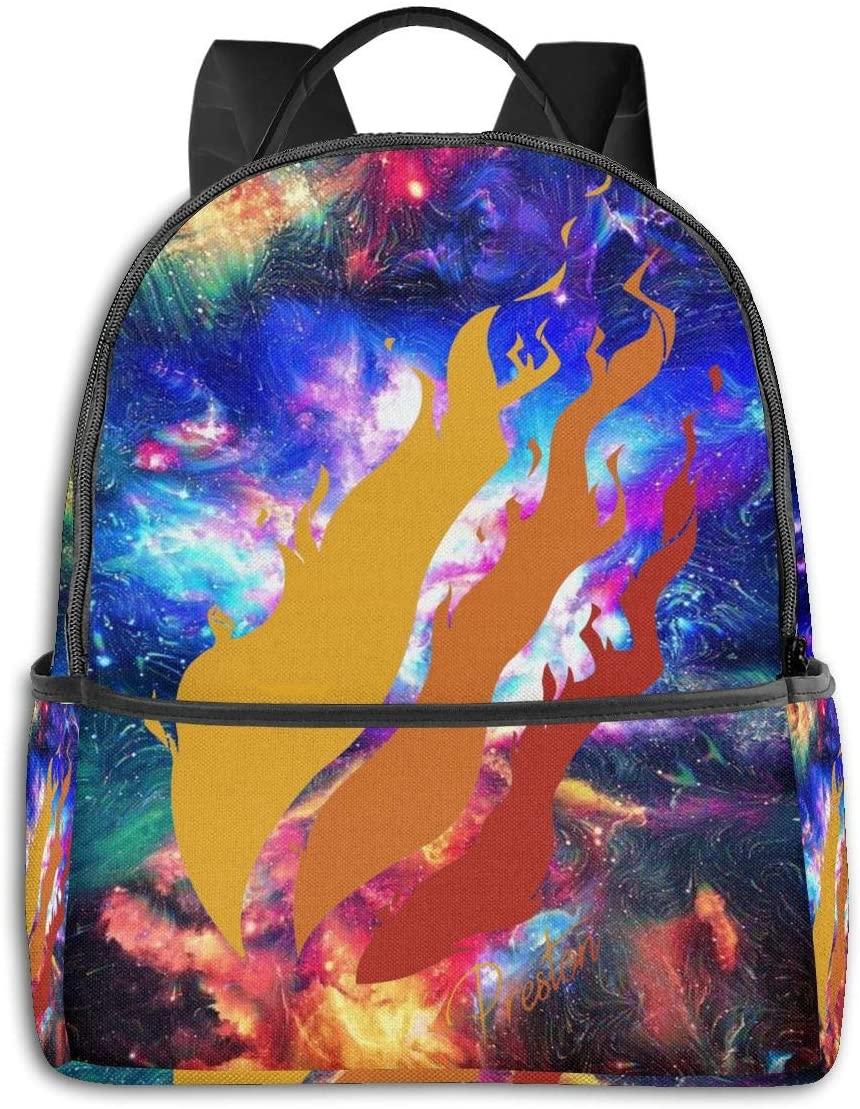 Qijujizz Preston Fire Style Playz Backpack Students Bookbag Durable Traveling Bag Lightweight Daypack
