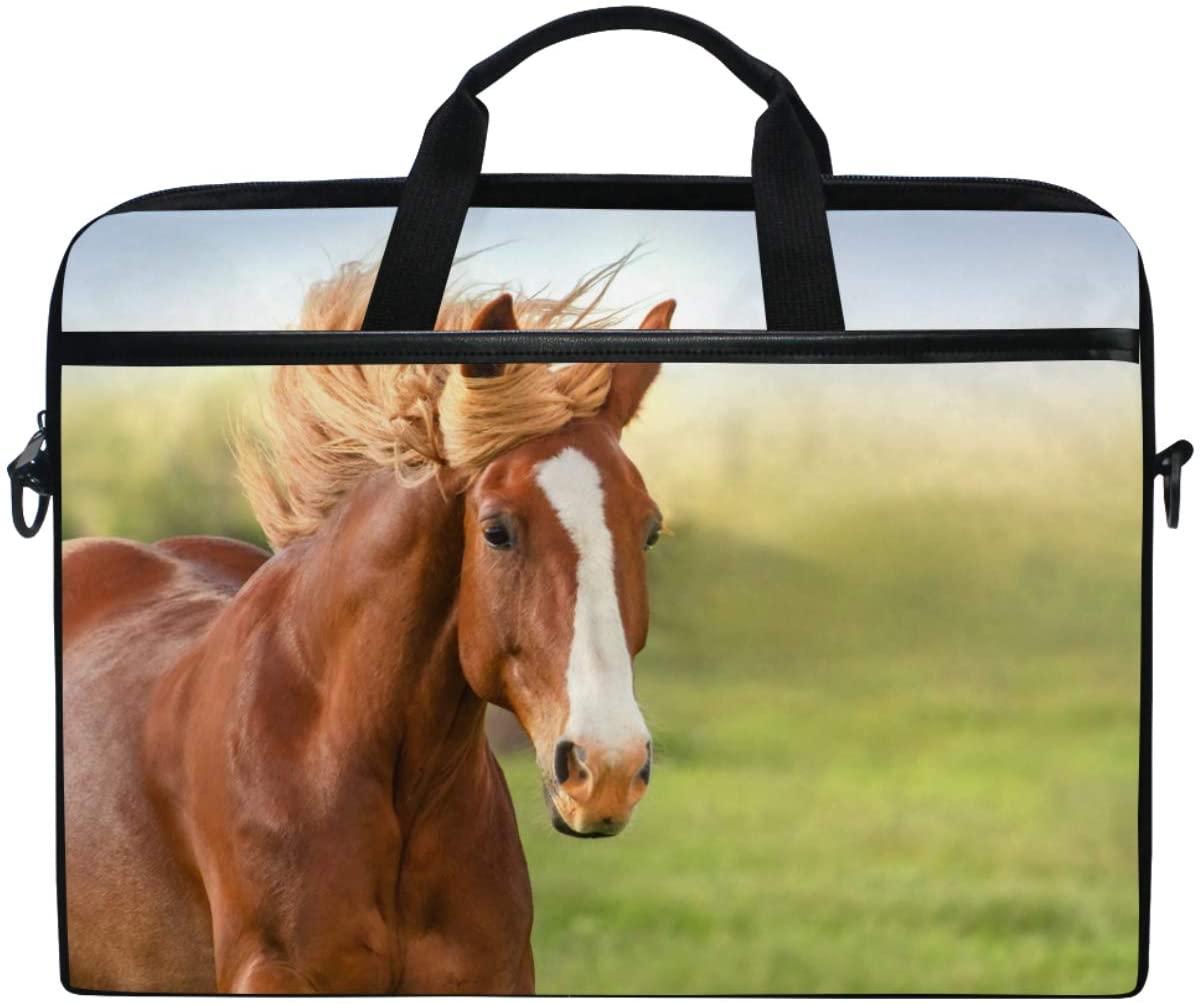 Kaariok 3D Brown Animal Horse Laptop Shoulder Bag 13-14.5 Inch Sleeve Case Messenger Tablet Briefcase with Handle Strap for Men Women Boys Girls