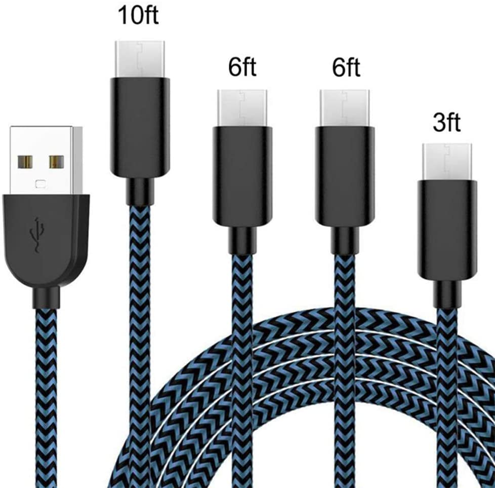 USB Type C Cable 3A Fast Charging, Four Packs [3/6/6 / 10FT] Double Nylon Braided, Durable Armored C-Type Cable, Compatible with Samsung Galaxy S10 S10E, Z Flip, etc. USB C Charger [Blue]