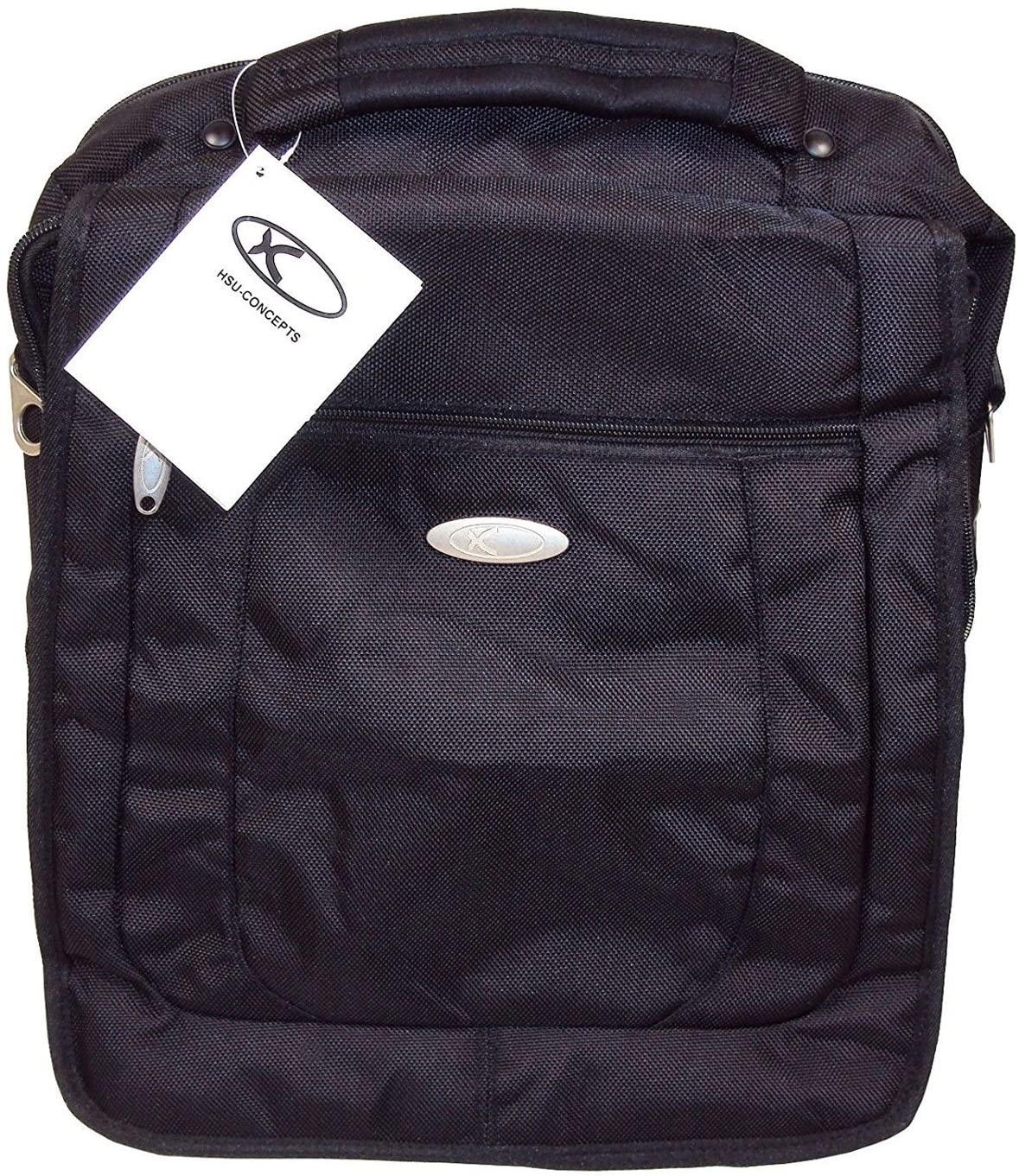 Large Vertical 4-way Messenger Bag/Backpack - HSU Concepts - Black.