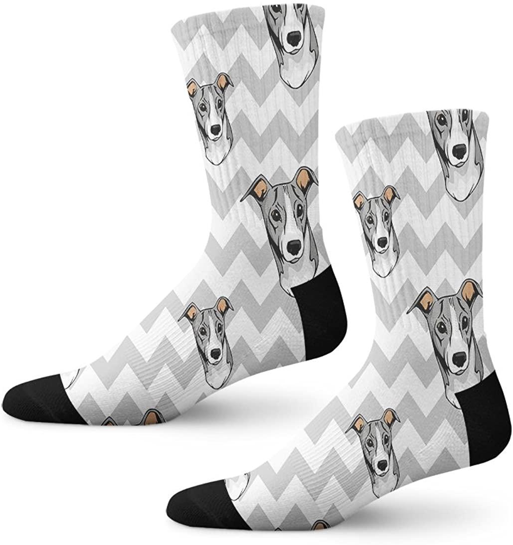 Italian Greyhound Dog Gray Zigzag Novelty Cuff Crew Men Women Socks Large