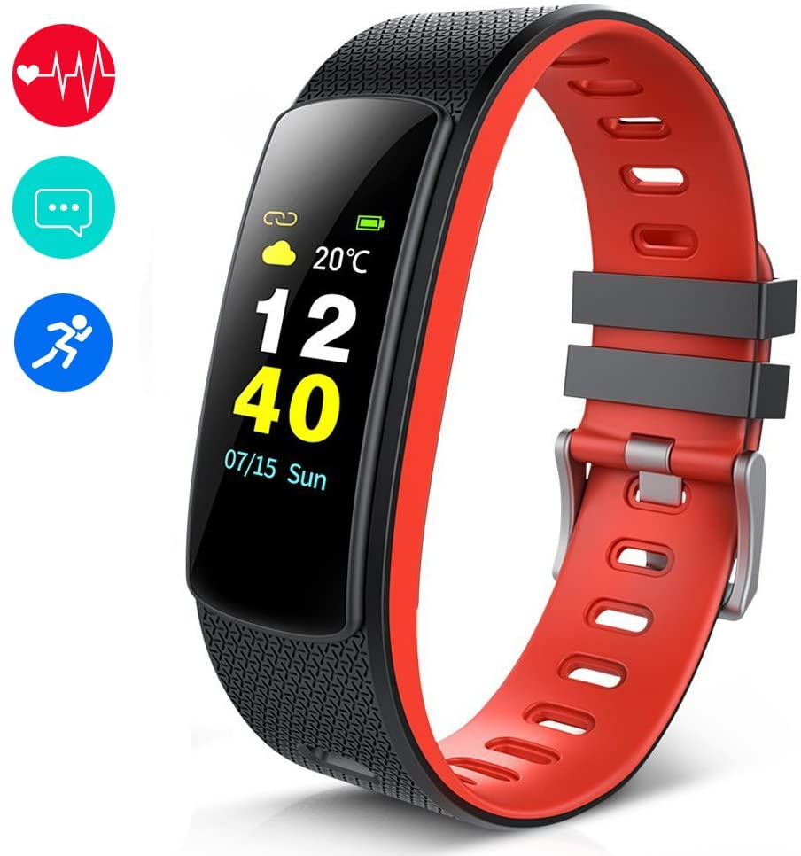 KEDA Fitness Tracker, IP68 Waterproof Color Screen Activity Tracker Sport Band Bluetooth Smart Wristband Bracelet with Heart Rate and Sleep Monitor Pedometer for iOS and Android