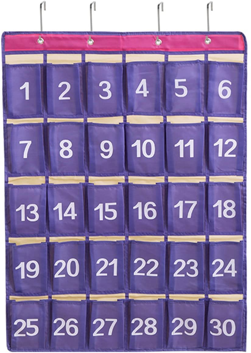 Numbered Classroom Pocket Chart for Cell Phone and Calculator,30 Pockets Wall and Door Hanger Storage Organizer,Purple