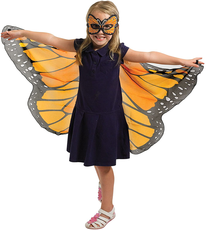 Douglas Cuddle Orange Monarch Butterfly Wings and Mask Bundle Set