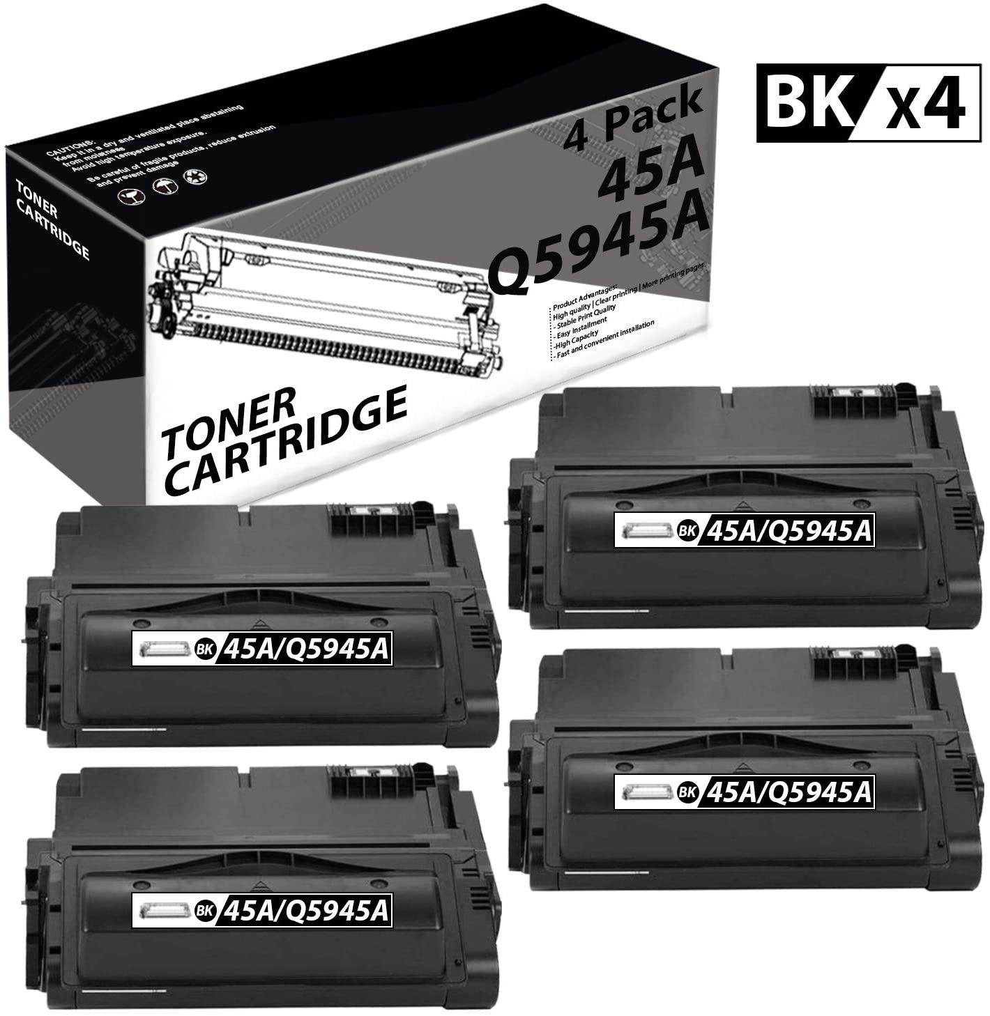 45A | Q5945A(4 Pack-Black) Compatible Toner Cartridge Replacement for HP Laserjet 4300 4300n 4200 4200N 4250 4250n 4350 4350n M4345xs M4345 MFP Laser Printers.
