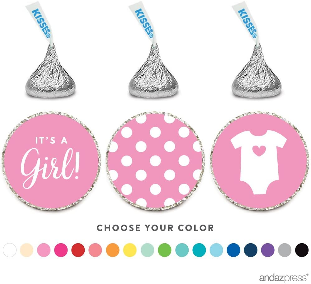 Andaz Press Chocolate Drop Labels Trio, Fits Hershey's Kisses, Girl Baby Shower, Pink, 216-Pack