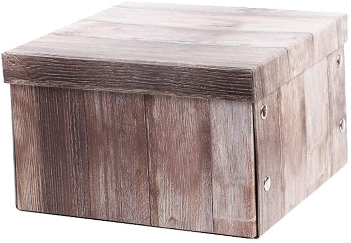 YOUNGTION Large Gift Boxes Foldable Wood Grain Paper Box with Metal Buttons 9