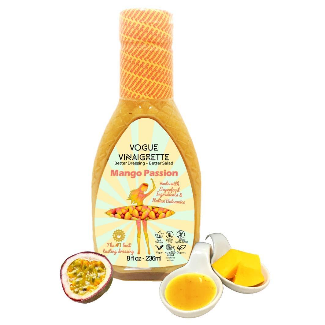 Mango Passion SUPERFOOD Balsamic Vinaigrette - All Natural - Vegan Foods - Organic - Keto - Whole 30 Foods - Low Carb Snacks - Gluten Free - WW Food - #1 Best Tasting Salad Dressing - Refrigerated