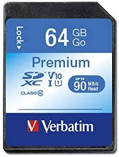 Verbatim 64GB Premium SDXC Memory Card, UHS-I V10 U1 Class 10