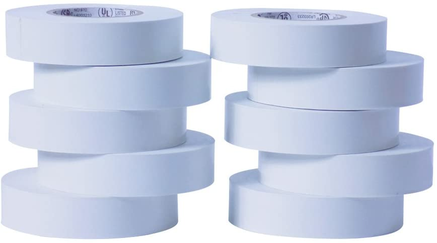 WOD ETC766 Professional Grade General Purpose White Electrical Tape UL/CSA listed core. Vinyl Rubber Adhesive Electrical Tape: 3/4inch X 66ft. - Use At No More Than 600V & 176F (Pack of 10)