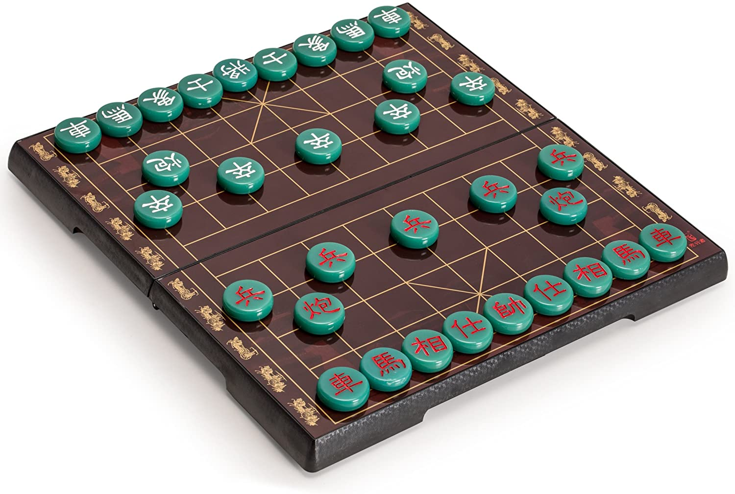 Yellow Mountain Imports Chinese Chess (Xiangqi) Magnetic Travel Board Game Set (12.8-Inch) with Jade-Colored Playing Pieces