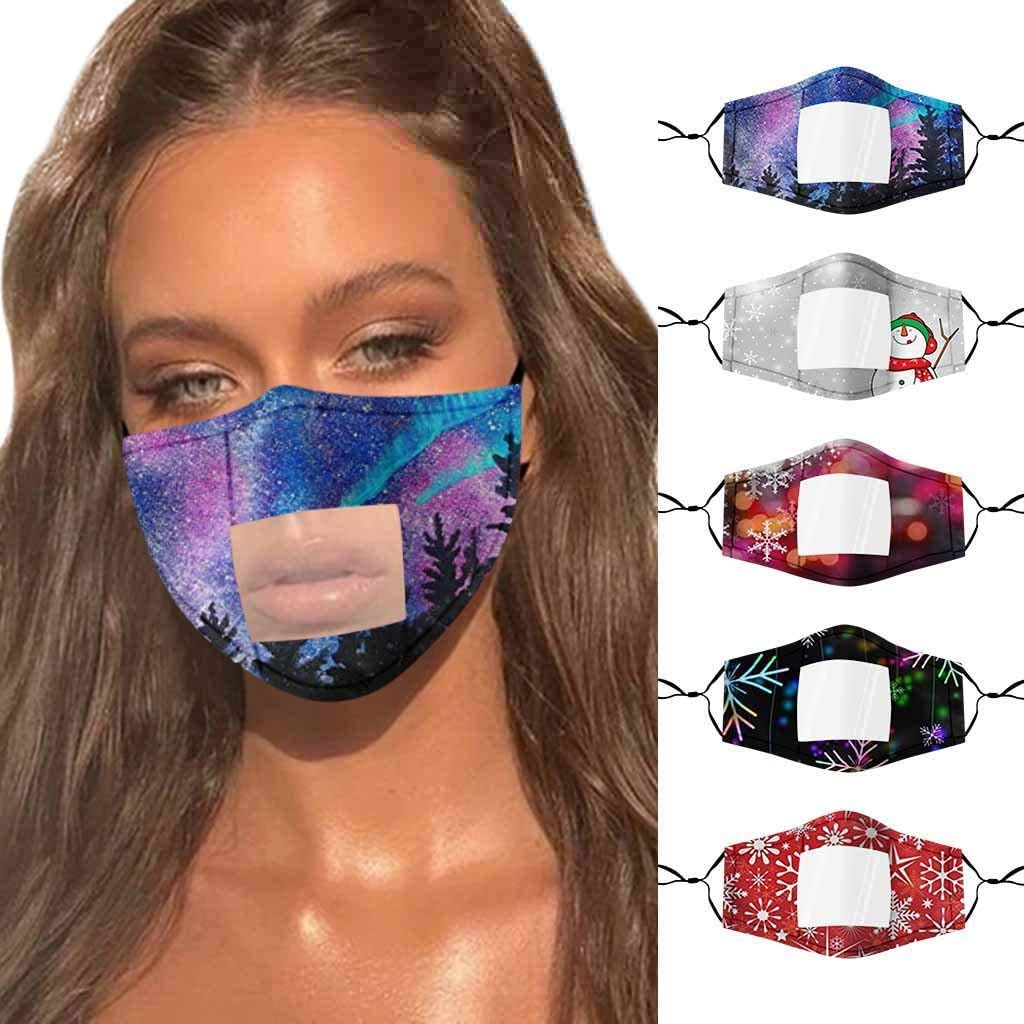 Dust Protection Clear face-mask-visable Lip Language Visual Transparent Printed PVC Face_Mask Visible Expression Lip Reading