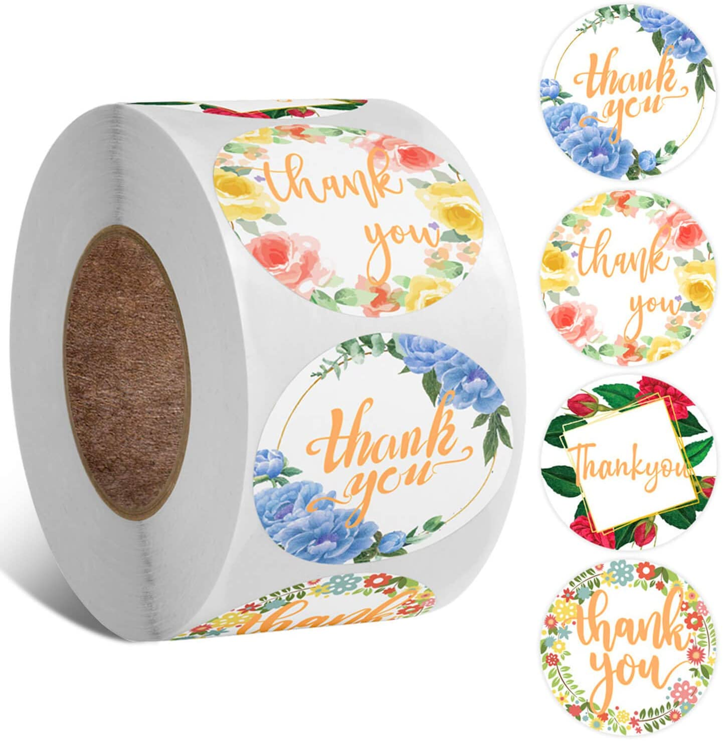 Thank You Stickers Roll 1.5 Inch, UVANKAUP Thank You Stickers with Flower Design Perfect for Wedding, Graduation, Business, Birthday, Baby Shower, Family Celebrations(500pcs)