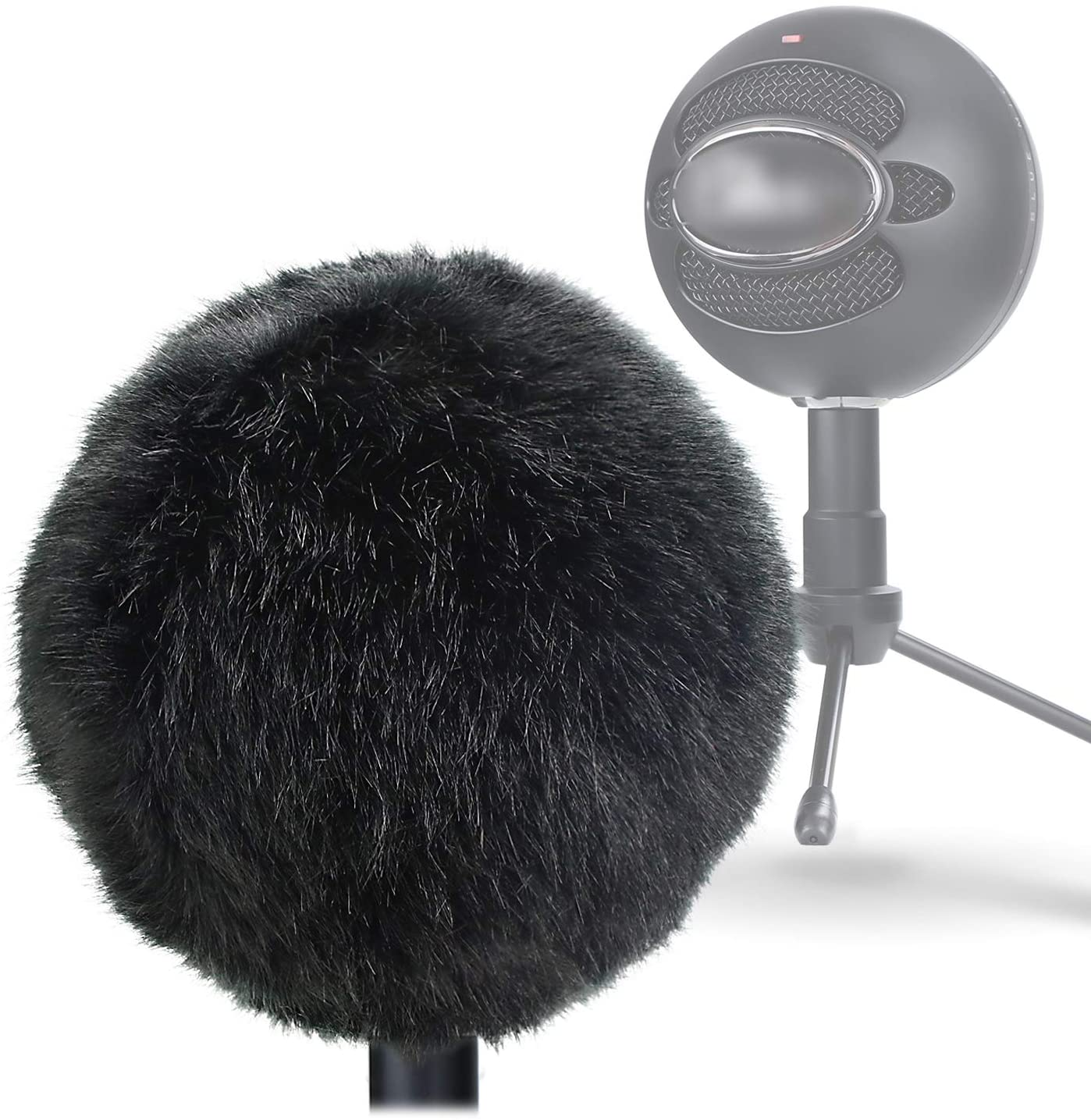 YOUSHARES Furry Windscreen Muff - Customized Pop Filter for Microphone, Deadcat Windshield Wind Cover for Improve Blue Snowball iCE Mic Audio Quality (Black)