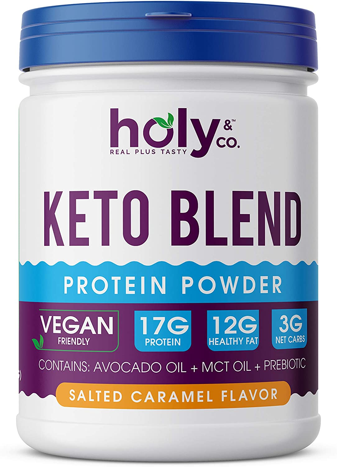 Holy and Co. Keto Protein Shake (Plant Based), Salted Caramel 16 oz (1lb / 453g) Powder. Healthy Fat Blend Featuring Avocado Oil and Coconut MCT Oil - Gluten Free, Non-Dairy, Non Soy, Non GMO