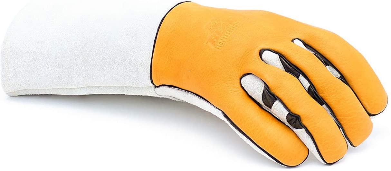 Riparo Leather Work Gloves Stretchable Ergonomic Cowhide Safety Welding Gloves (Medium, Camel)