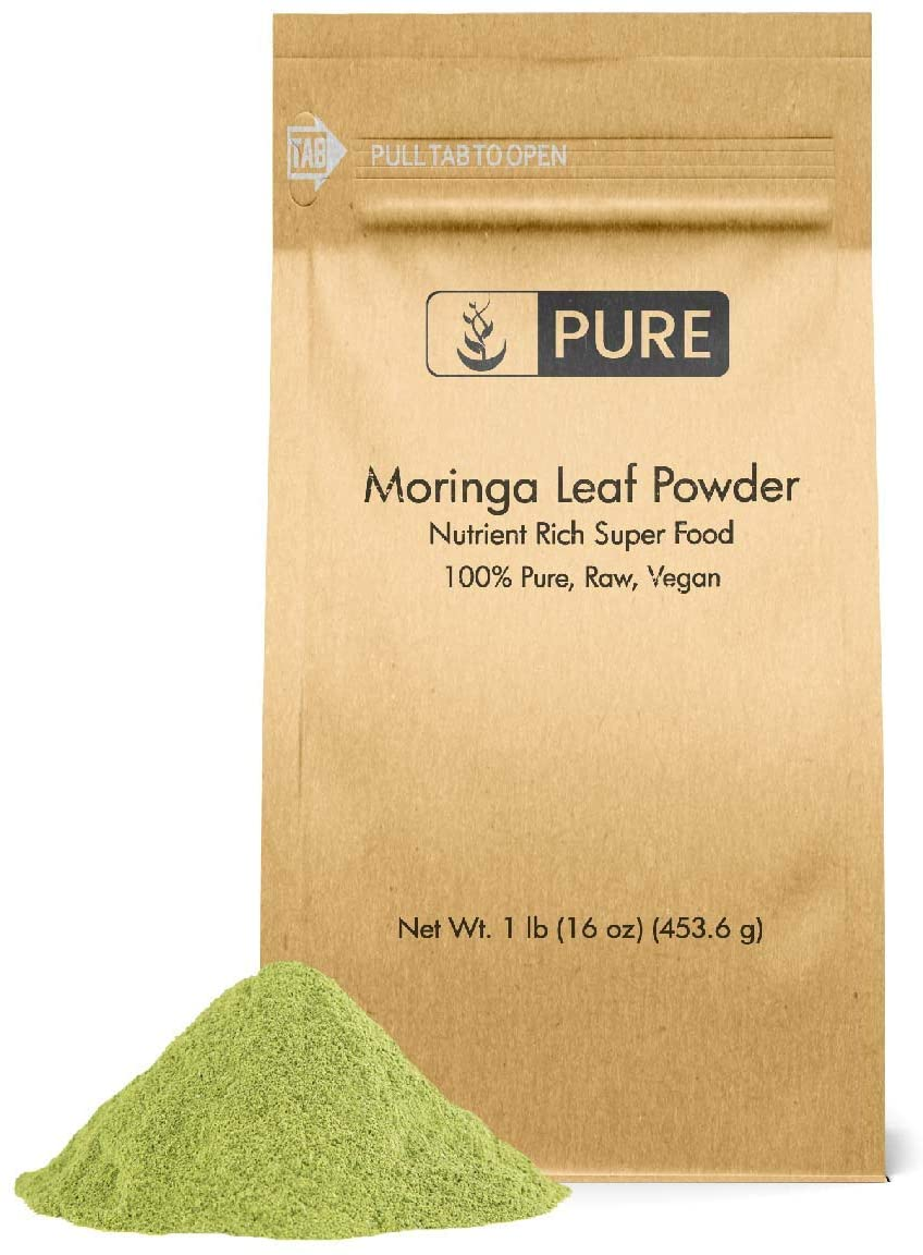 Moringa Powder by Pure Organic Ingredients, Moringa Oleifera Leaf Extract, Super Food, Natural Herbal Supplement, Eco-Friendly Packaging (1 lb)