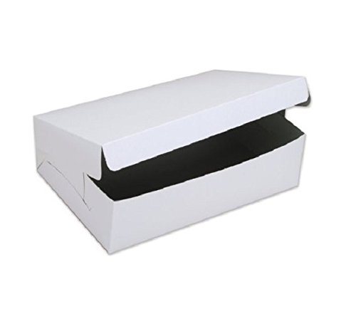 SafePro 844, 8x4x4-Inch Cardboard Cake Boxes, Take Out Disposable Paper Cake Pie Containers, Wholesale White Bakery Box (50)