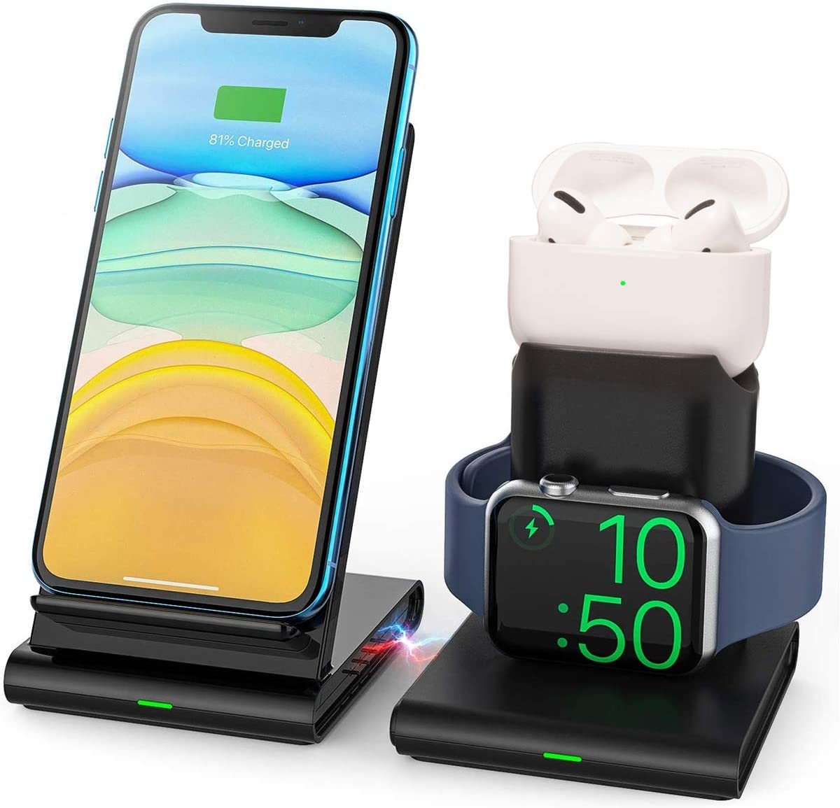 Detachable Wireless Charger,3 in 1 Wireless Charging Stand for Apple Watch/Airpods Pro, Wireless Charger Station Compatible with iPhone 11 Pro Max/X/XS/XR/8Plus