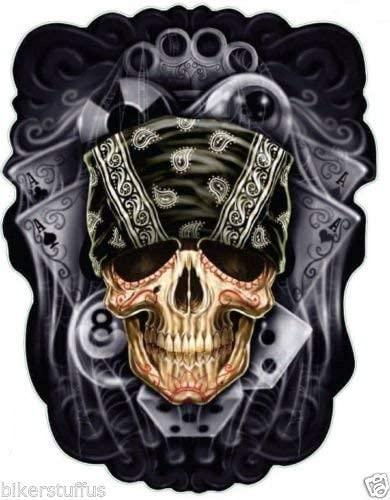 MFX Design Skull with Bandanna Bumper Sticker Decal Helmet Sticker Decal Toolbox Sticker Decal Vinyl - Made in USA 3.5 in. x 3 in.