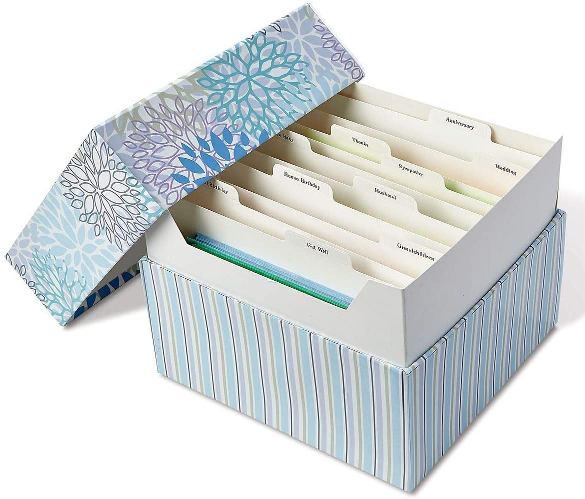 Cool Floral Greeting Card Organizer Box - 9