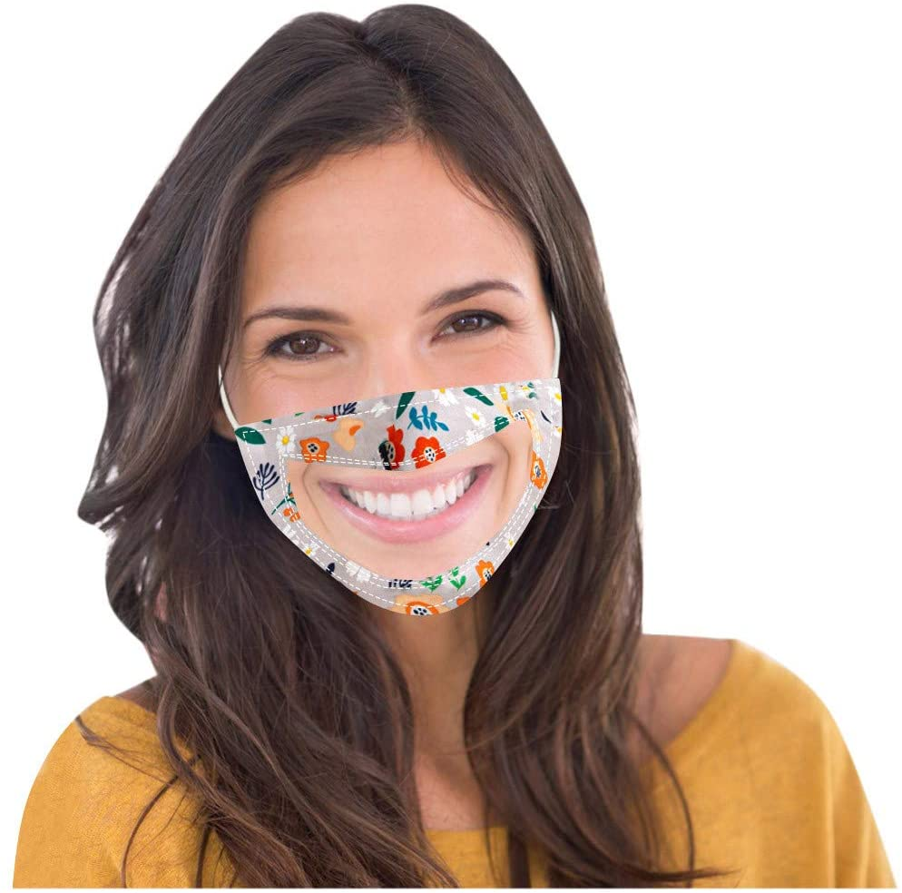 1/4PC Face_Mask Adults Reusable Lip Language Floral Visible and Transparent Face Bandana