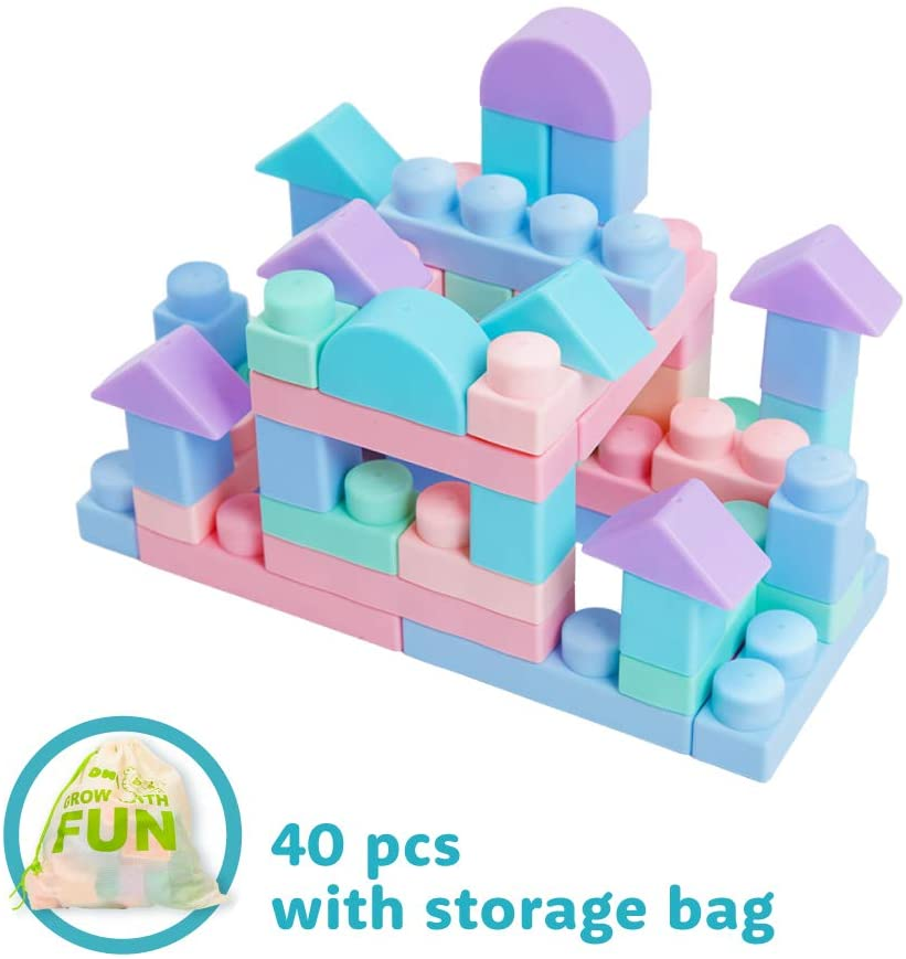 MOOMU - Soft Building Blocks, Great Toy for Teething Toddlers, Non-Toxic Rubber, Waterproof, Safe & Quiet, 40 Pieces with Storage Bag