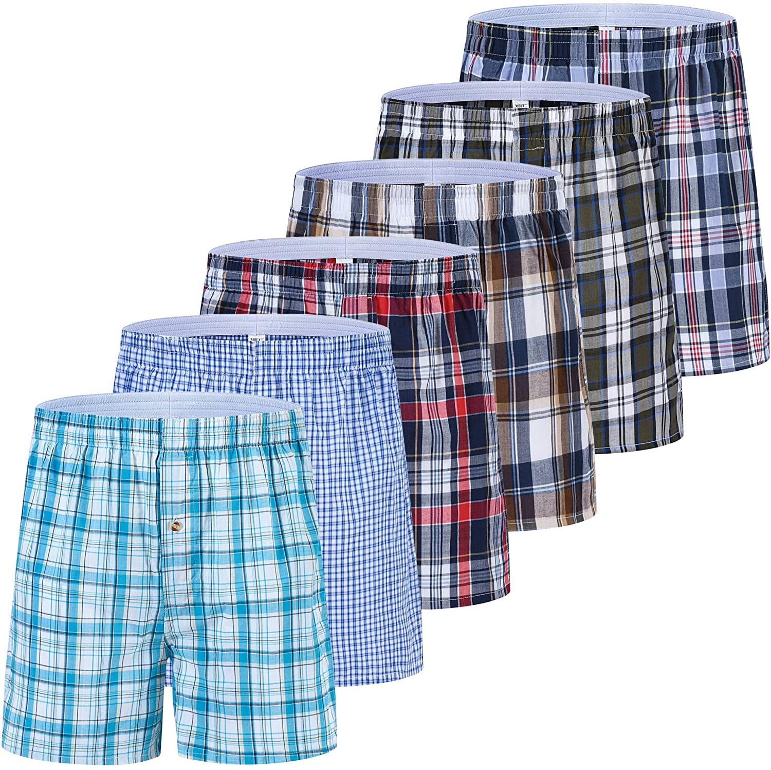 JINSHI Men's Underwear Boxer Shorts Comfortable&Breathable Lounge Shorts Classic Plaid Fit Button Fly Loose 6-Pack