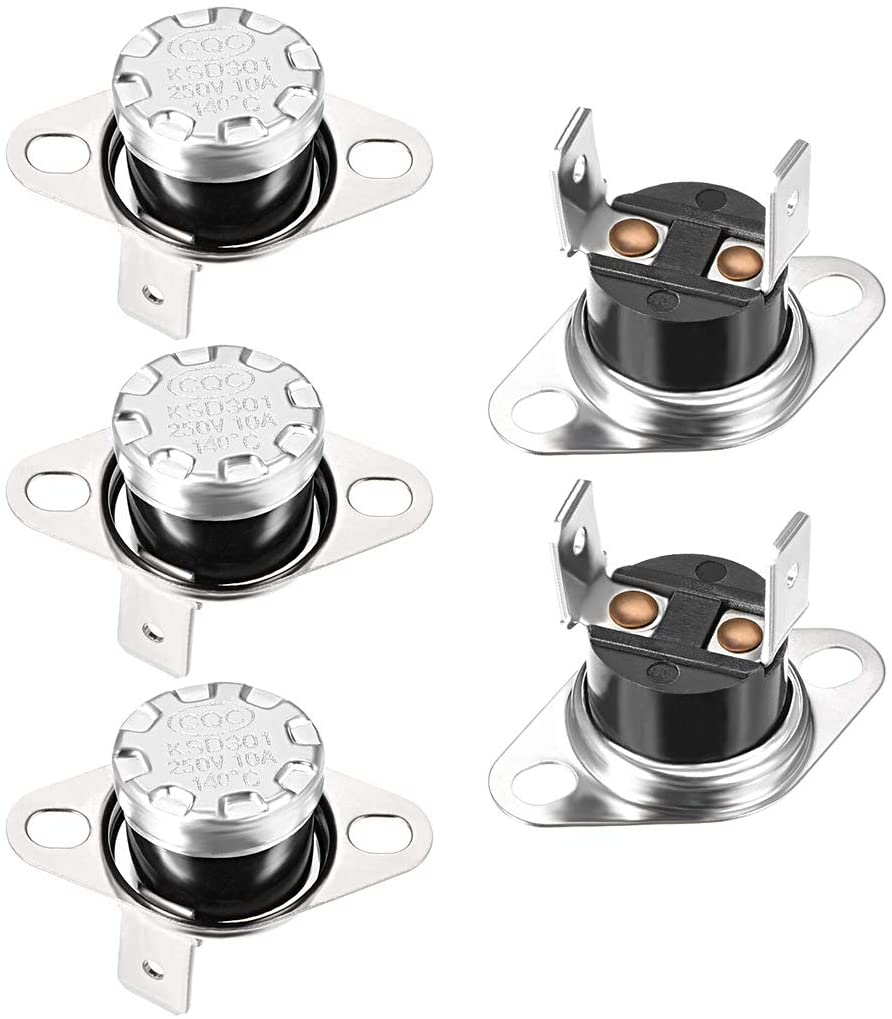 uxcell KSD301 Thermostat 140°C/284°F 10A Normally Closed N.C Adjust Snap Disc Temperature Switch for Microwave,Oven,Coffee Maker 5pcs