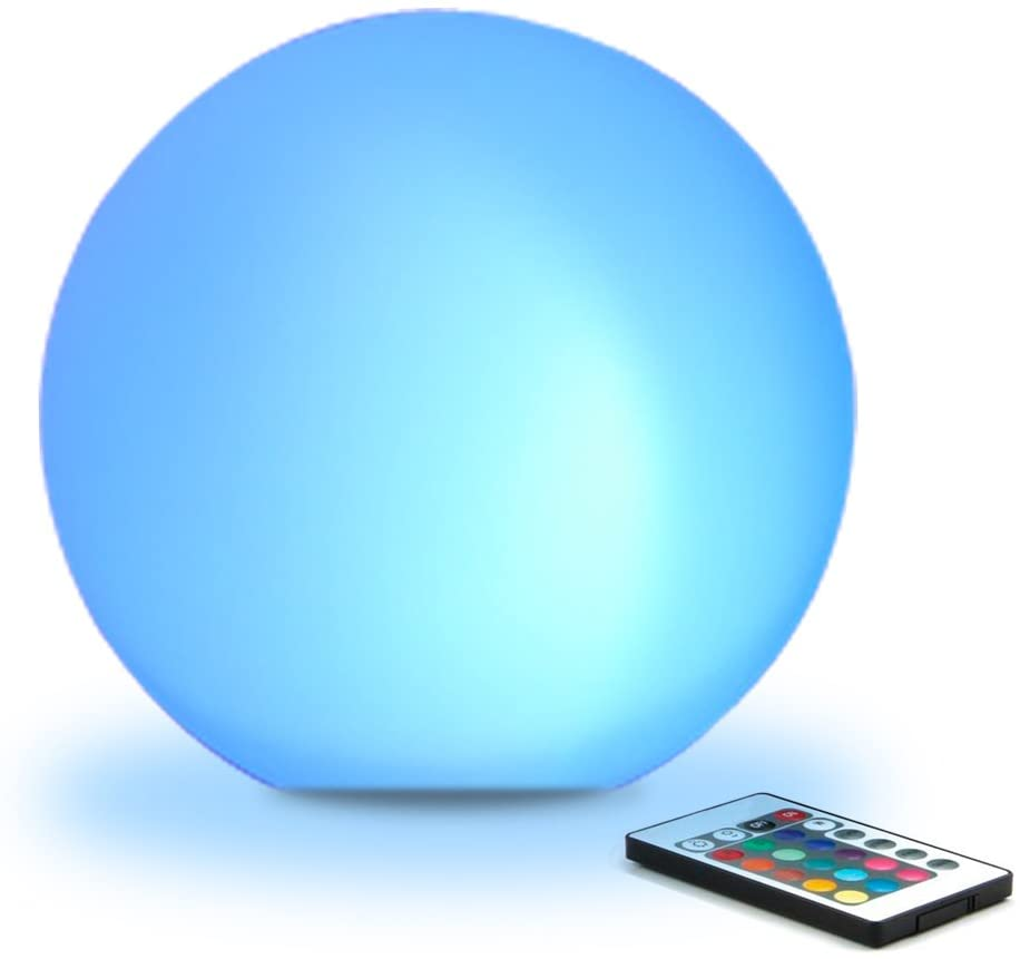 Mr.Go 8-inch Ultra-fun LED Glowing Ball Light w/Remote, RGB Color Changing Globe Mood Lamp, 16 Colors 8 Brightness 4 Lighting Modes, IP65 Waterproof, Rechargeable & AC Adapter Power,Stunning Light Orb