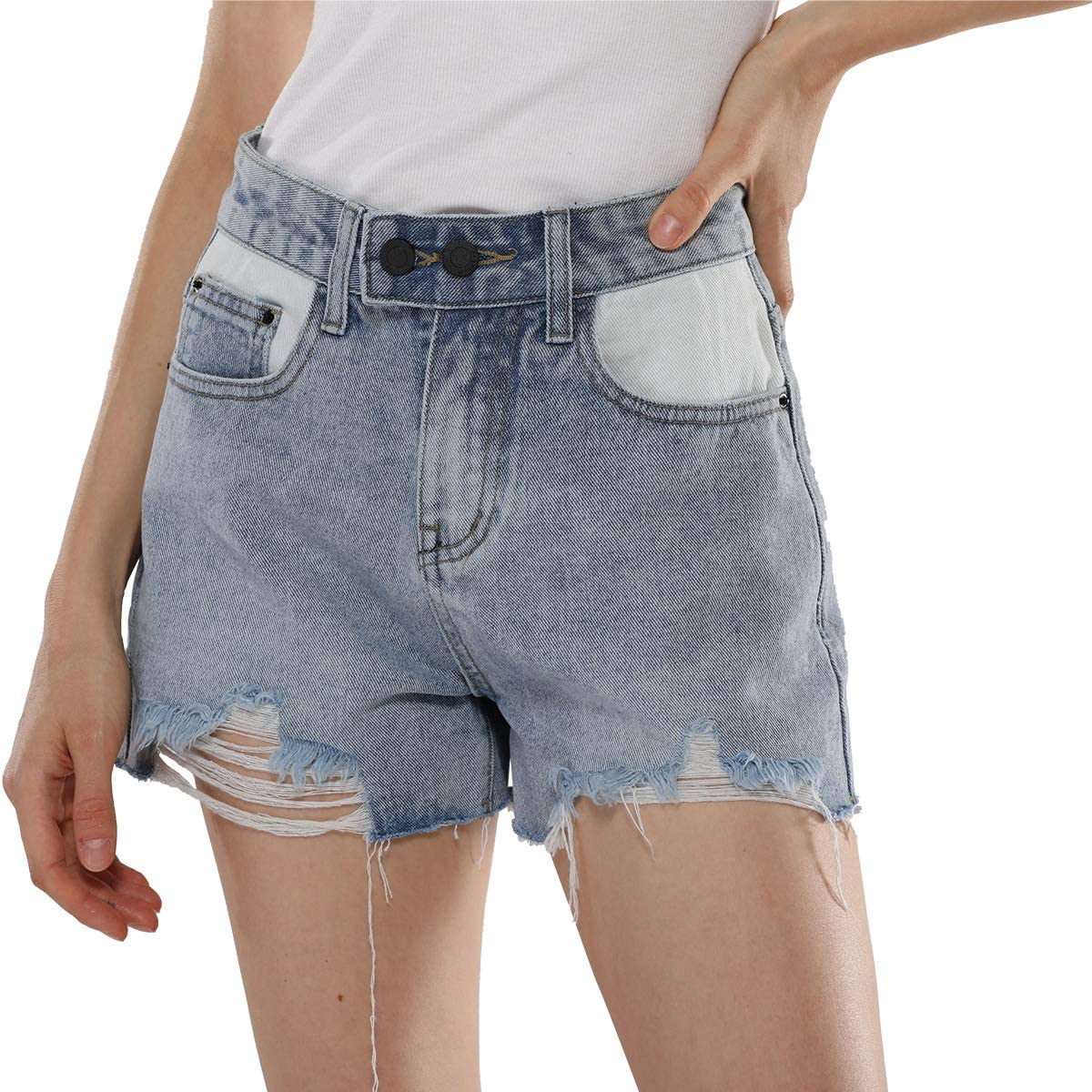 EYESHOCK Denim Shorts for Women Ripped Frayed Mid Rise Jeans Shorts Buttons Closure