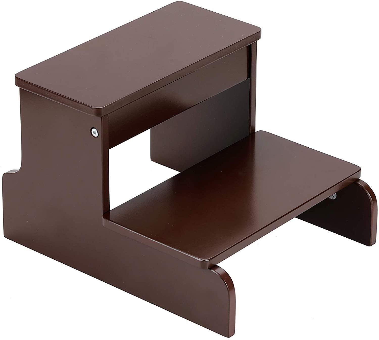 BIRDROCK HOME Wooden Step Stool for Kids - Walnut - Decorative - Strong Sturdy Wood 2 Steps - Toddler Kids Step Helper for Kitchen Sink – Bathroom Toilet Stepping – Lightweight Construction