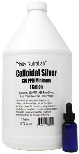 Trinity NutraLab 130PPM Colloidal Silver (1 Gallon). Certified Lab Tested, 100% Pure & Natural. Nothing Added.