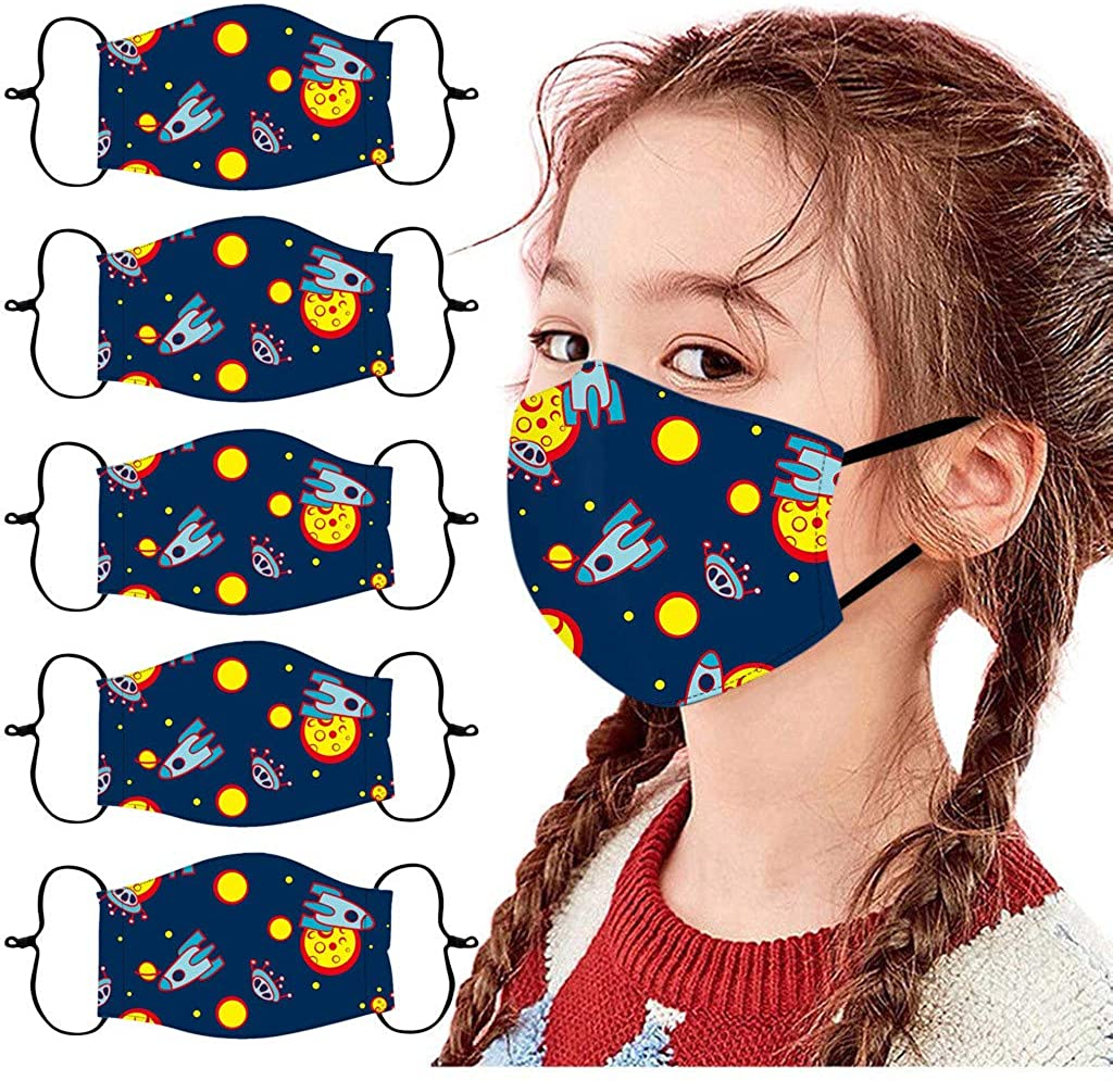 5PC Childrens Face_Mask Adjustable Windproof Reusable Printed Facemask