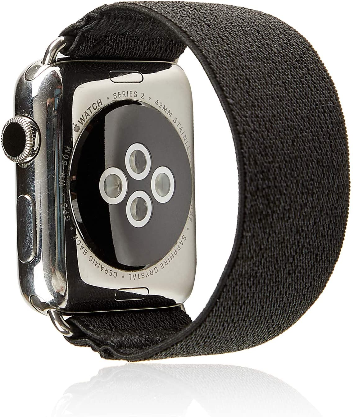Elastic Band Compatible for Apple Watch, Scrunchie Stretch Wristbands Replacement Bracelet Loop Sport Strap for iWatch Series 1 2 3 4 5, Men Women Girls, Glitter Black, 38/40mm, L