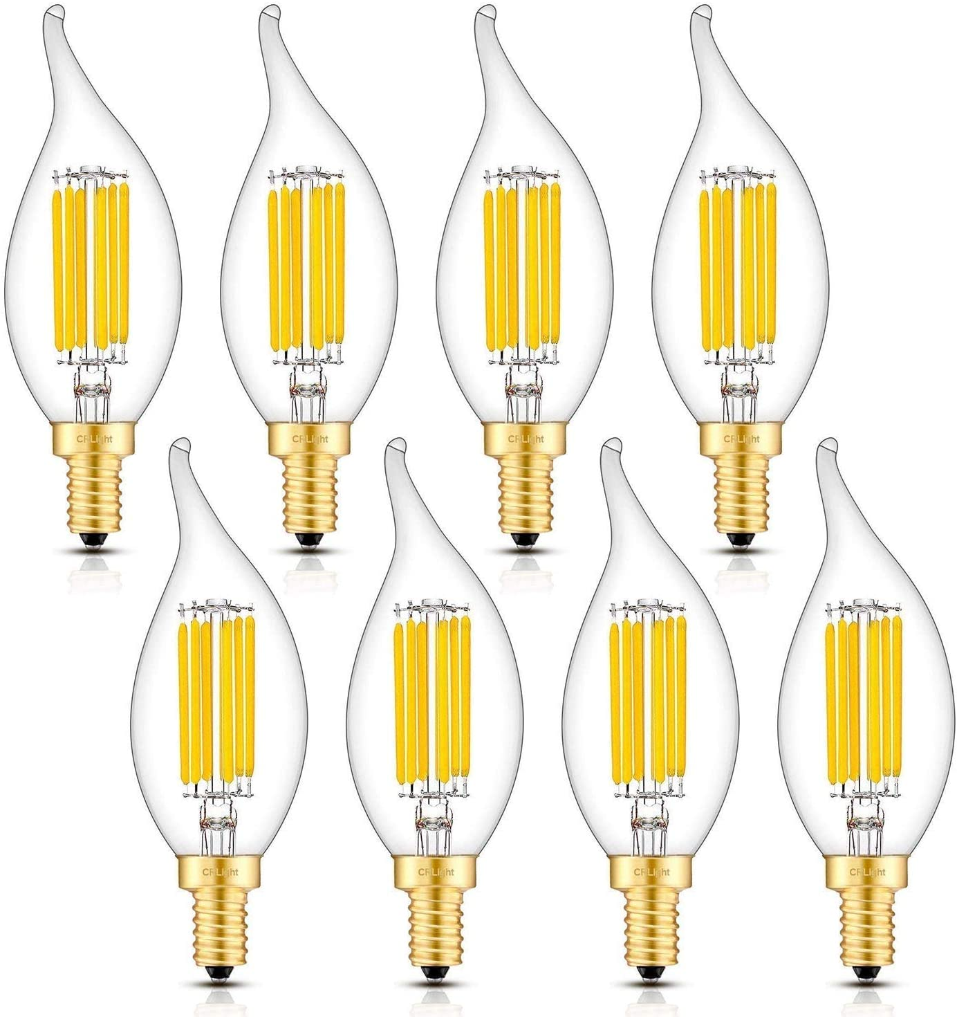 CRLight 6W LED Candelabra Bulb 3000K Soft White, 70W Equivalent 700LM, E12 Base Dimmable LED Chandelier Light Bulbs, Antique Edison Style Clear Glass CA11 Candle Flame Shape Bent Tip, Pack of 8