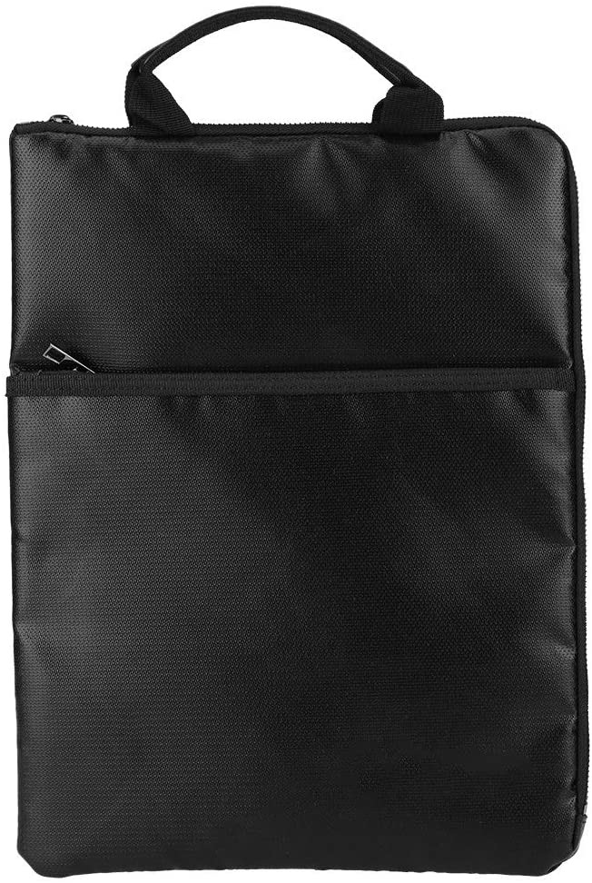Document Bag - Delaman Portable Fireproof Waterproof Briefcase, Passport Money Laptop Protection Storage, 14.8 x 11.2in, Black