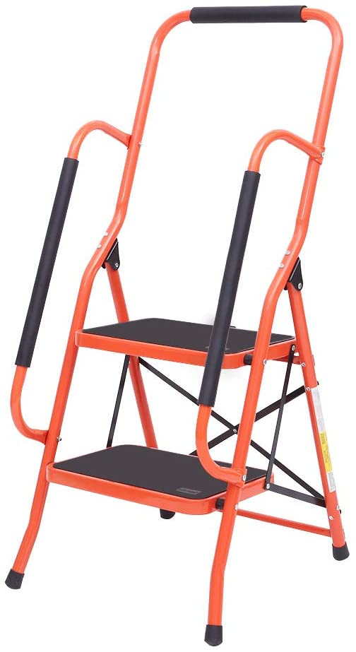 LUISLADDERS Folding 2-Step Safety Step Ladder Padded Side Handrails Portable Heavy Duty Ladders for Kitchen, Home and Office 330lbs