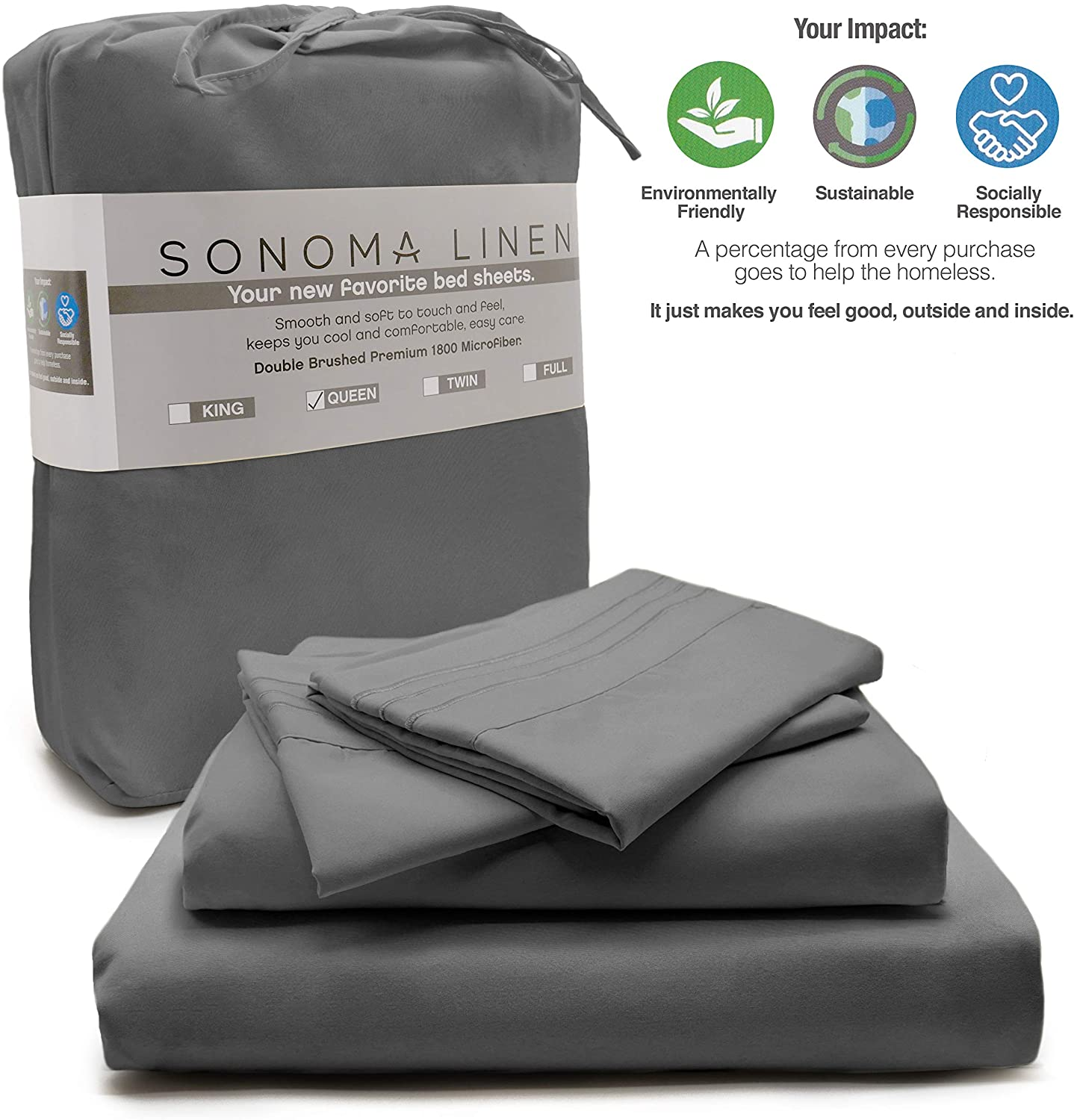 SONOMA LINEN Super Soft King Size Sheets deep Pocket Grey 4 Piece King Sheet Set 1800 T C Bedding Microfiber Wrinkle Stain and Fade Resistant Hypoallergenic Breathable and Cooling Hotel Quality
