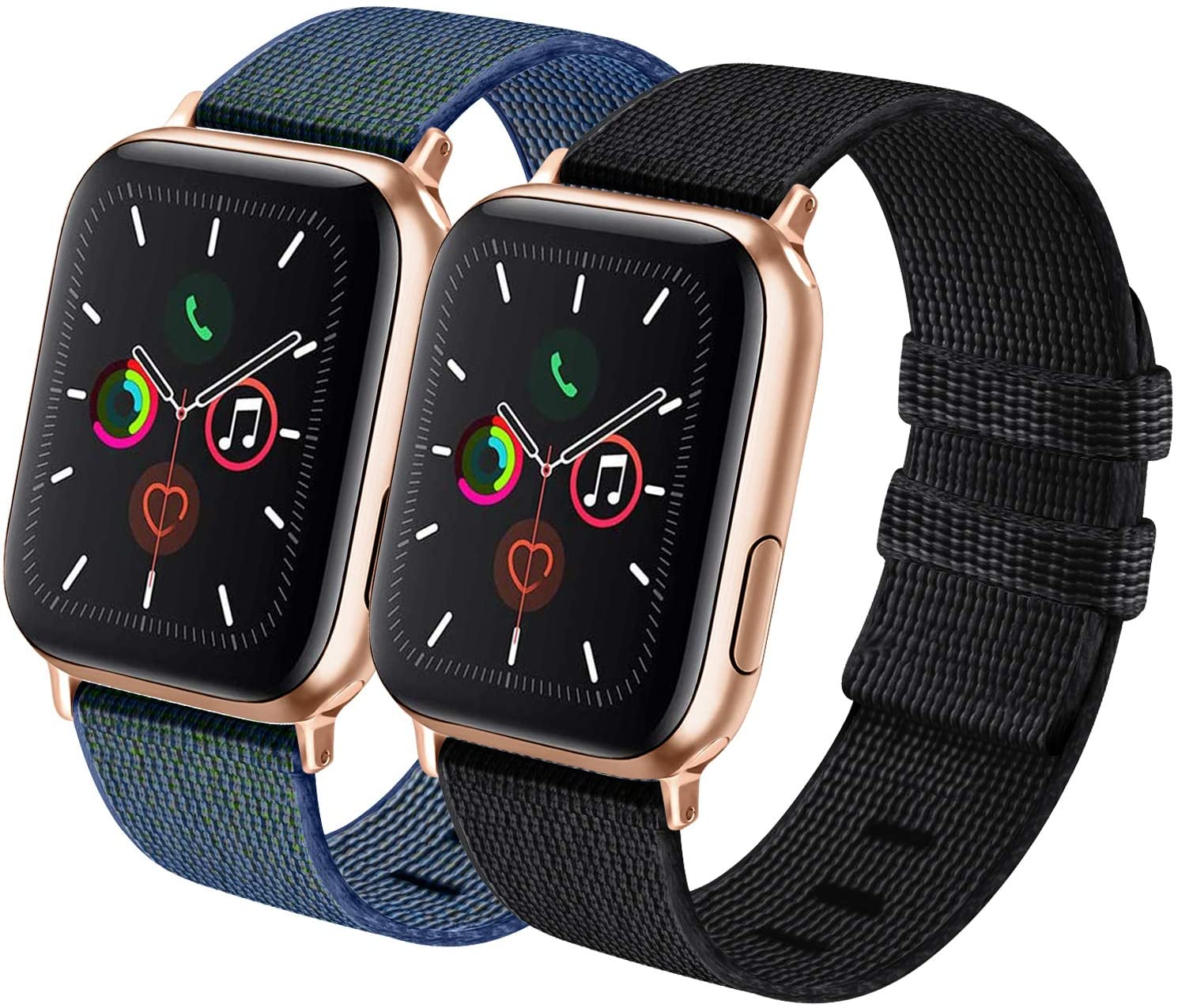 IEOVIEE Nylon Bands Compatible for Apple Watch Band 38mm 40mm 42mm 44mm, Adjustable Soft Lightweight Breathable Replacement Bands for Series 5 4 3 2 1 (Black+Tahoe Blue, 42mm/44mm)