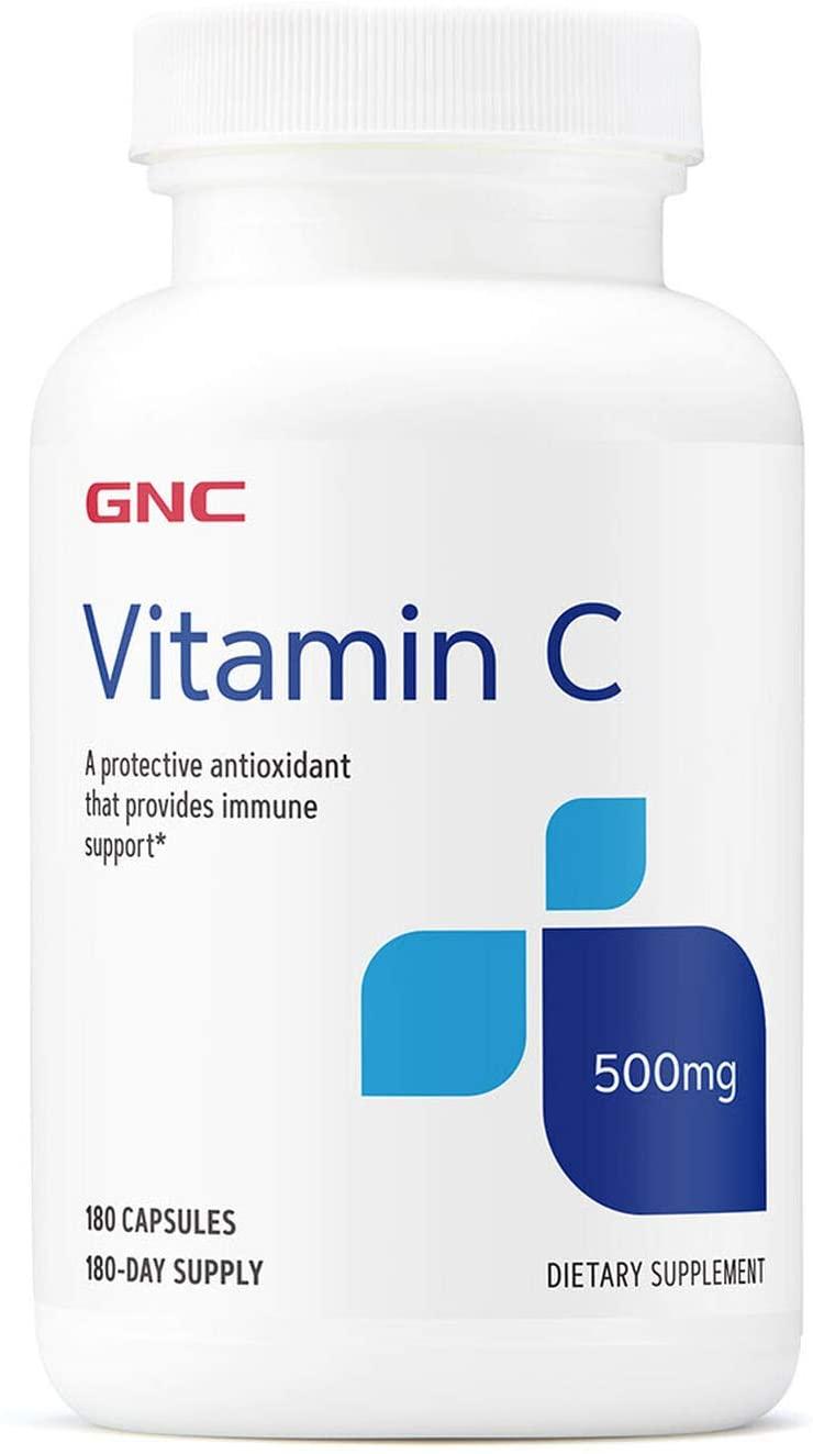 GNC Vitamin C Capsules 500mg, 180 Capsules, Provides Immune Support